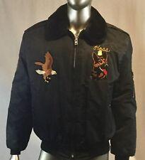 Vintage USAF Nailon Bomber Timber King Chaqueta XL, Michigan, Eagle Parche,
