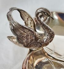 Outstanding Solid 915/1000 Silver Swan Handled Leaf Bon Bon Candy Dish Spain