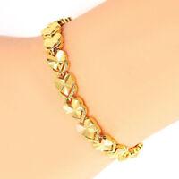 "24k Yellow Gold Linked Hearts Chain Bracelet Women's Small 7-1/4"" w GiftPkg D717"