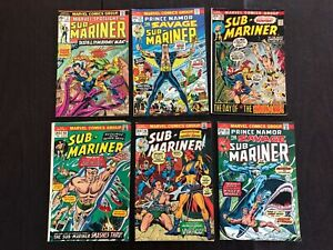 Lot of 6 SUB-MARINER COMIC BOOKS 1972, 1973 and 1976