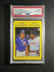 "1991 Fleer  ""HR Kings""  Ryne Sandberg & Cecil Fielder  PSA 10  Chicago Cubs"