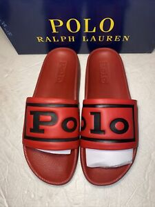 POLO RALPH LAUREN CAYSON RED & NAVY POLO LOGO Slide Sandals Men Size 10
