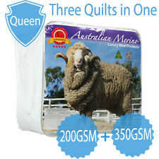 QUEEN-Aus Made All Seasons 200+350GSM Luxury 100% Merino Wool Quilt