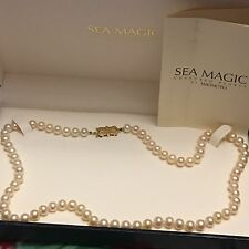 "MIKIMOTO SEA MAGIC CULTURED PEARL 16"" NECKLACE 6mm 14K CLASP CREAMY PINK HUE"