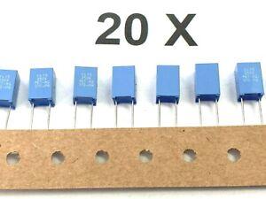 20 x 100nF, 250V,- 160V~ 10%,RM5, 0,1µF, MKT370,Philips,2222 370 48104, 20 Stück