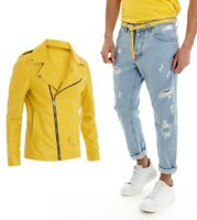 Outfit Uomo Completo Giacca Ecopelle Chiodo Giallo Pantalone Denim Jeans Rott...