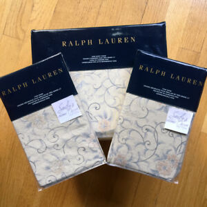 Ralph Lauren MADALENA Audrey 3p KING DUVET COVER SHAM SET Nat BLUE FLORAL Cotton