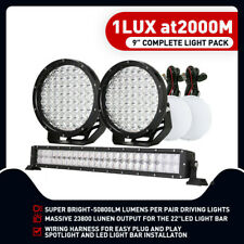 "OSRAM 9"" Driving Light Set Work Spot With Harness+ 22"" LED Light Bar Offroad Ute"
