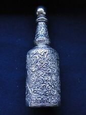 More details for flask/ perfume bottle sterling silver indian chased and engraved marked 1880