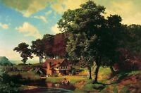 Dream-art Oil painting Albert Bierstadt A Rustic Mill landscape in the morning