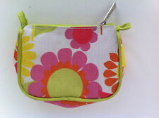 Clinique Multi Colored Flowers Fabric Cosmetic Case w/ Zipper 5 inches