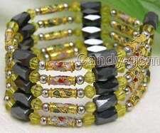 "SALE Gold Cloisonne Hematite & Black Magnetic Beads 29"" necklace /Bracelet-5159"