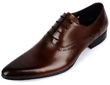 Men's Genuine Leather dress Formal shoes Casual shoe Lace ups Brown  Size 5~9~11