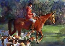 Giclee PRINT Thoroughbred Equine Painting foxhunt Horse Art Hounds Warmblood