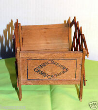Antique Vintage Old Accordian Wood Wooden Doll Bed 1901-1919 Edwardian WWI AD138