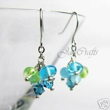 Handmade Earrings: Blue & Green Crystal & Glass Bead