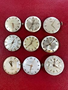 NINE 1950's WRIST WATCH MOVEMENTS BEING SOLD FOR PARTS OR RESTORATION - NO RES!