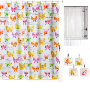 Butterfly Theme Shower Curtain Set with Decorative Hooks and Liner for Bathroom