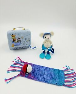 Miniature collectible crochet mouse, outfit, Handmade gift 3 in