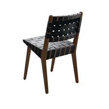 Jens Risom Inspired Mid Century Side Chair in Light Ash Wood with Black Webbing