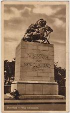 WW1 ANZAC postcard Australian & New Zealand War Monument Port Said Egypt
