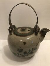 POTTERY TEA KETTLE WITH METAL HANDLE WITH MARKING