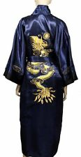 Reversible Embroidered Dragon Design Silk Kimono Robe Black/Navy Blue