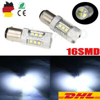 2× 15 LED PKW Lampe Bremslicht Rücklicht Xenon Weiß Licht BAY 15d P21/5W 16 SMD