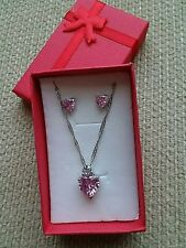 "CZ Heart Pendant & Pierced Earring Set Pink 18"" Chain 10K White Gold Filled"