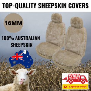 Sheepskin Seat Covers Mocha 16MM Genuine Australian SheepSkin Airbag Safe