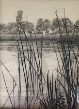 Marguerite Mackain-Langlois, Etang en Sologne, paysage, dessin crayon et fusain