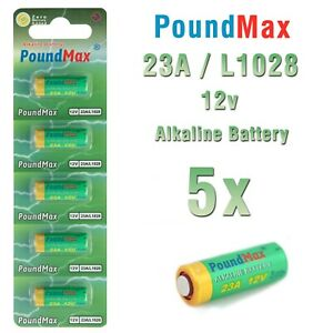 5 x Super Alkaline 23AE/A23/LRV08/MN21 12V PoundMax Alkaline Security Batteries