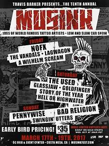 "NOFX/THE USED/PENNYWISE/BAD RELIGION ""MUSINK""2017 COSTA MESA CONCERT TOUR POSTER"