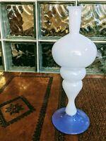 Vintage 90s Studio Art Glass Modernist Tall Modernist Vase Lavender/White Signed