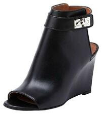 New Givenchy Shark Tooth Lock Peep Toe Wedge Booties Boots Shoes Size 36 6 NIB