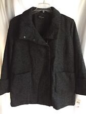 NWT Size 2X JONES NEW YORK WOOL COAT Black/ White Marled Tweed Zip-Up Snaps $295