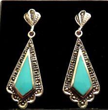 STERLING SILVER  Turquoise Antique 20s Art Deco design Dangle Drop Earrings 4cm
