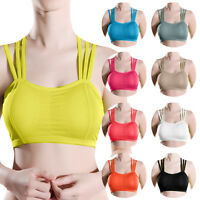 Women Fitness Stretch Workout Yoga Tank Top Seamless Racerback Padded Sports Bra