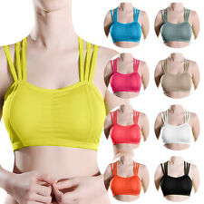Women Fitness Stretch Workout Yoga Tank Top Seamless Racerback Padded Sports Bra