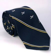 "Vtg Aviators Necktie Sportys Pilot Shop Blue Gold Beechcraft  Bonanza Theme 56"""