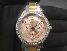 New Old Stock - FOSSIL RILEY ES4145 - Rose Gold Dial Stainless Steel Lady Watch