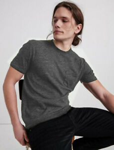 Lucky Brand Linen One Pocket Tee Shirt T-Shirt Vintage Heather Gray in Medium