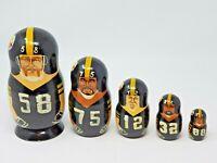 Vintage 1970s NFL Pittsburg Steelers Nesting Dolls Hand Painted USED