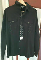 Vixxsin Torn Men's BLCK Short Sleeve Goth Alternative Black Shirt D RINGS.SIZE M