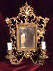 Antique Brass Wall Sconce &  Beveled Mirror~Baroque Rococo Design Electric