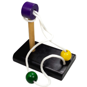 Double ball wood and rope disentanglement puzzle with black base