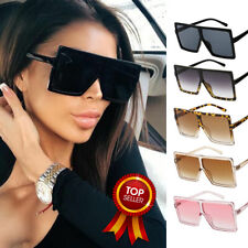 Oversized Square Flat Top Women Ladies Fashion Sunglasses Shade UV400