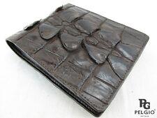 PELGIO Genuine Crocodile Alligator Tail Skin Leather Bifold Men's Wallet Brown