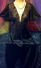 Sexy Mod Vintage Nylon Sheer Black Tie Chantilly Lace Batwing Peignoir Robe S
