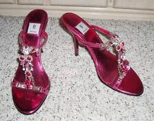 Gorgeous BAKERS 'Tina-S' Dress Slide Sandal Heels~Pink Rhinestone Beaded~ 8.5 B